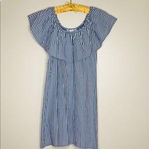 Potter's Pot   Blue Striped Off Shoulder Dress